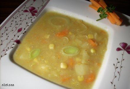 zupa porowa z kukurydzą