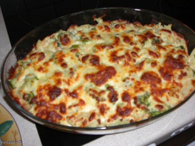 Zapiekanka brokułowo-kalafiorowa z kurczakiem