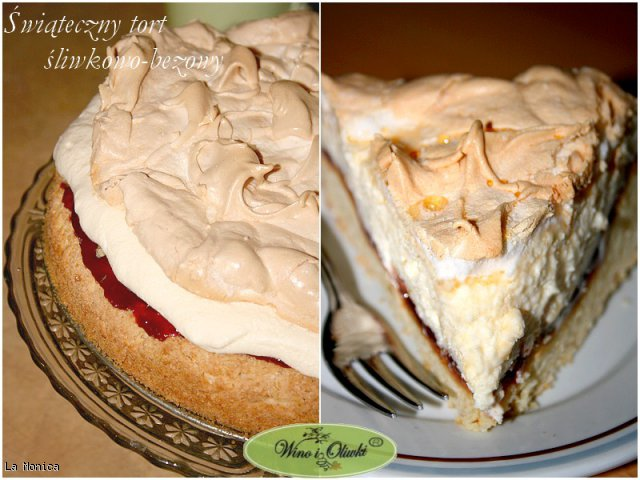 Świąteczny tort śliwkowo-bezowy