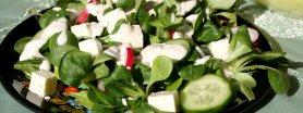 Sałatka z roszponką, fetą i sosem czosnkowo-migdałowym