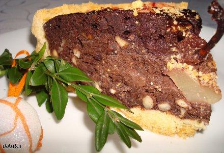 Tarta czekoladowo-orzechowa z gruszkami