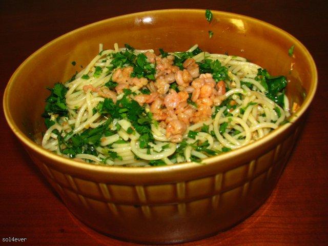 Spaghetti Aglio e Olio z krewetkami