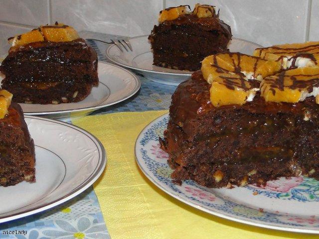 Ciasto czekoladowo- kawowe z pomarańczami