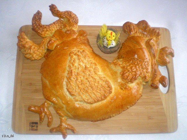 Kogut w cieście drożdżowym faszerowany kurczakiem i warzywami