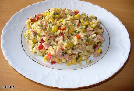 Ryż z warzywami zapiekany serkiem na patelni