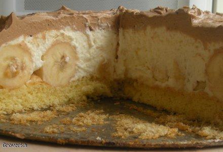 Tort z czekoladą i bananami