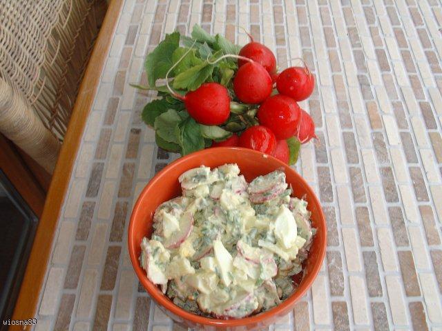Rzodkiewki, ogórki, szczypiorek i majonez w roli głównej