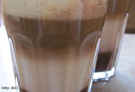 Latte macchiato - 4warstwowe, z sosem czekoladowym