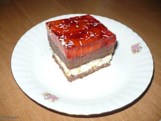 Ciasto czekoladowe z kremem bananowo-brzoskwiniowym