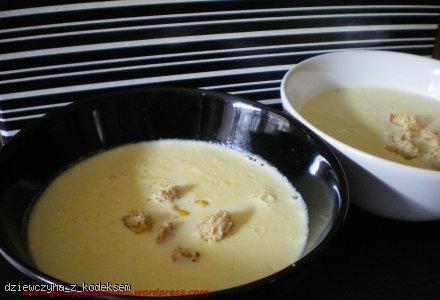 Zupa serowa z grzankami.