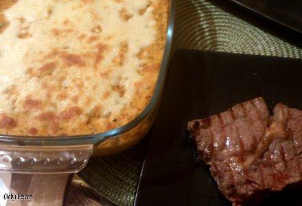 Stek & zapiekane puree z batatów.