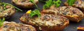 Bataty zapiekane z pieczarkami i serem żółtym