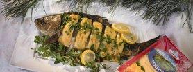 Świąteczny karp z serowo – pieczarkowym farszem