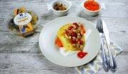 Śledzik z orzechami na marchewkowym puree
