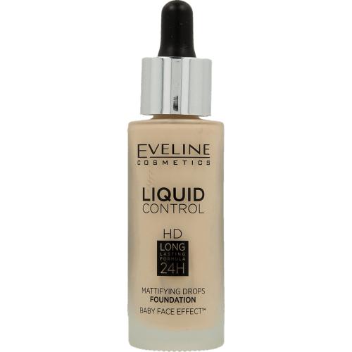 Eveline, Liquid Control HD, Mattifying Drops Foundation baby Face Effect Long Lasting Formula 24h (Długotrwały podkład do twarzy)