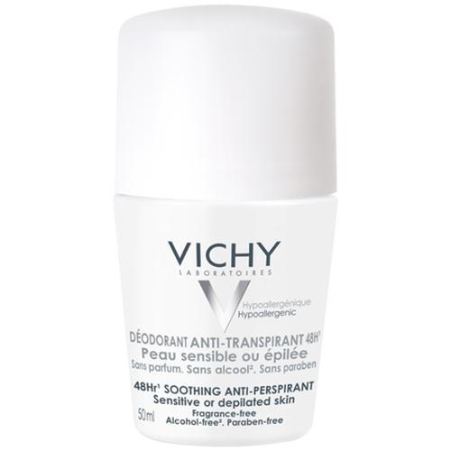 Vichy, Deodorant Anti-Transpirant 48h Peaux Sensibles Roll-on (nowa wersja) (Antyperspirant w kulce do skóry wrażliwej lub po depilacji)