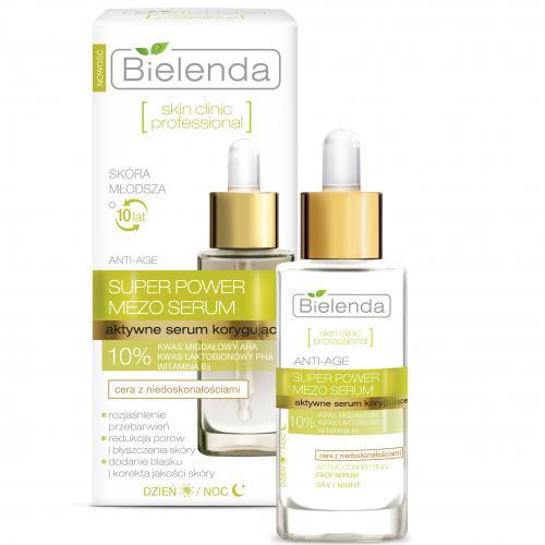 Bielenda, Skin Clinic Professional, Super Power Mezo Serum (Aktywne serum korygujące Anti-Age do cery mieszanej i tłustej, z niedoskonałościami)