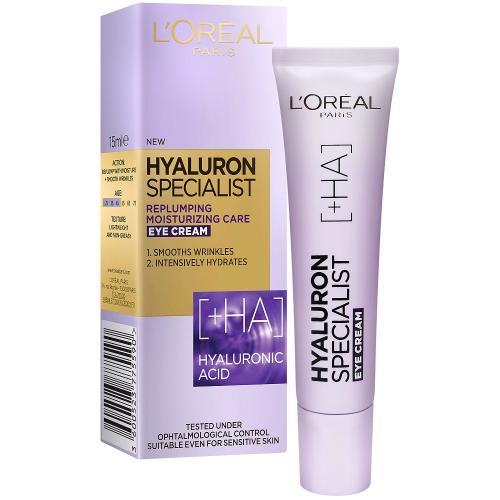 L`Oreal Paris, Hyaluron Specialist, Replumping Moisturizing Eye Cream (Krem pod oczy `Wypełniająca kuracja nawilżająca`)