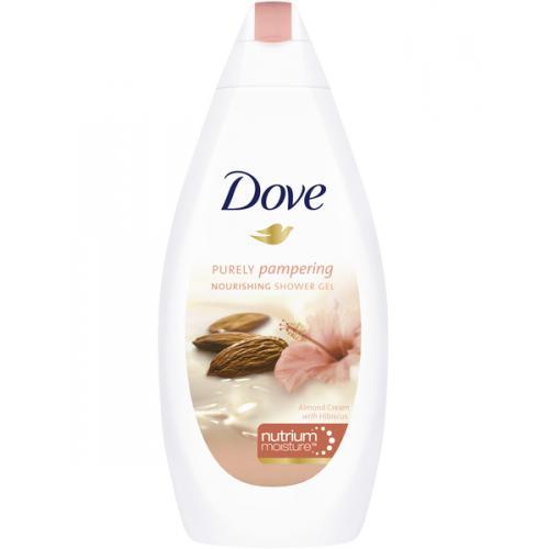 Dove, Purely Pampering, Żel pod prysznic z mleczkiem migdałowym i hibiskusem (nowa wersja)
