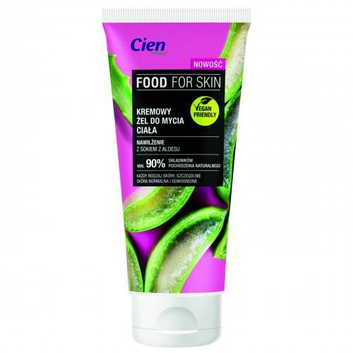 Cien, Food Fof Skin, Kremowy żel do mycia ciała `Nawilżenie z sokiem z aloesu`