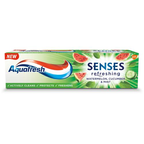 Aquafresh, Senses, Refreshing Toothpaste, Watermelon, Cucumber & Mint (Pasta do zębów `Arbuz, ogórek i mięta`)