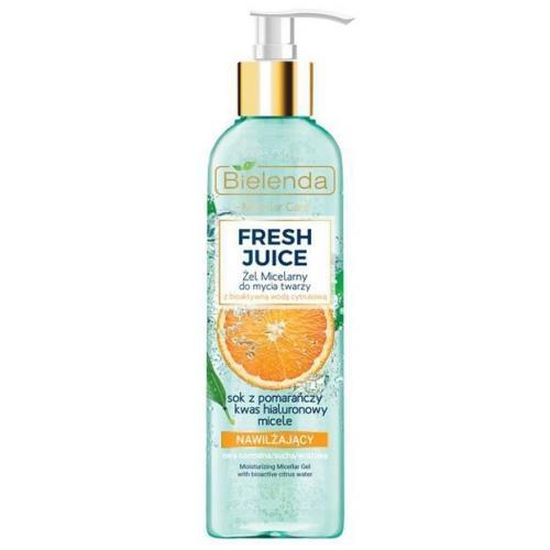 Bielenda, Fresh Juice, Nawilżający micelarny żel do mycia twarzy z bioaktywną wodą cytrusową `Sok z pomarańczy, kwas hialuronowy i micele`