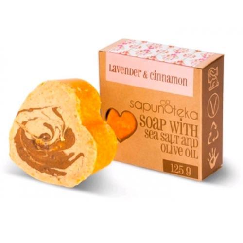 Sapunoteka, Soap with Sea Salt and Olive Oil `Lavender & Cinnamon` (Mydło solne `Lawenda i cynamon`)