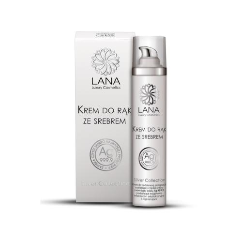 Lana Luxury Cosmetics, Silver Collection, Nawilżający krem do rąk ze srebrem