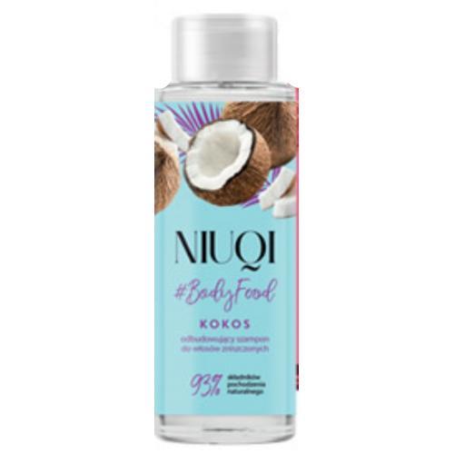 Niuqi, #Bodyfood, Odbudowujący szampon do włosów zniszczonych `Kokos`