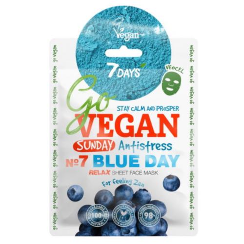 Vilenta, 7 Days, Go Vegan, Blue Day Sheet Face Mask (Maska w płachcie `Matcha i jagody`)