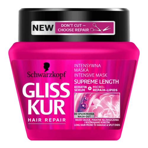 Schwarzkopf Gliss Kur, Supreme Length, Mask (Intensywna maska do włosów długich z keratynowym serum, regeneracyjnymi mikro-lipidami i esencją z piwonii)