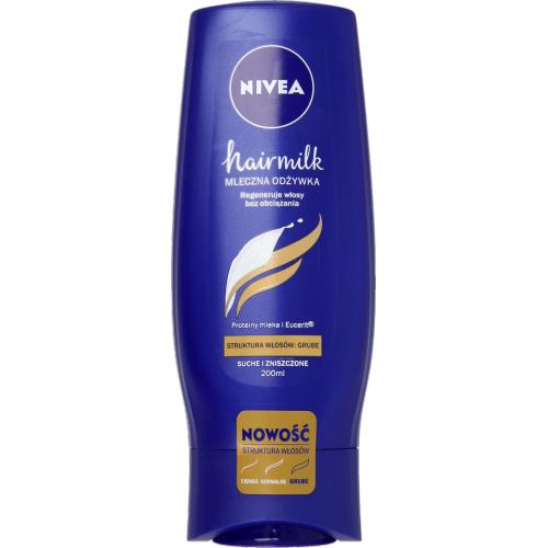 Nivea, Hairmilk, Mleczna odżywka pielęgnująca do włosów o strukturze grubej