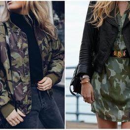 modna kurtka bomberka we wzór moro