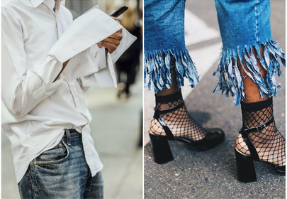 skarpetki i obcasy kabaretki biała koszula trendy