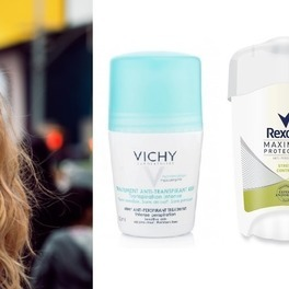 blondynka i antyperspiranty Vichy Rexona Sanex