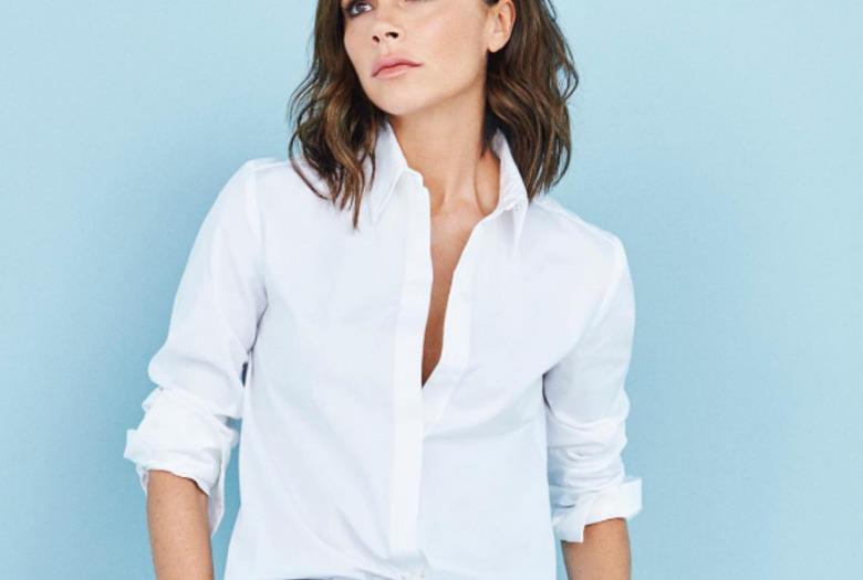 Victoria Beckham w białej koszuli