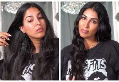 Farah Dhukai trik na falowane włosy przed i po