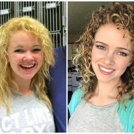 metamorfoza kręconych włosów zdjęcie przed i po