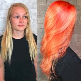 Efekt przed i po koloryzacji tangerine hair