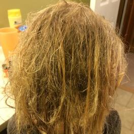 dziewczyna z włosami zniszczonymi po basenie