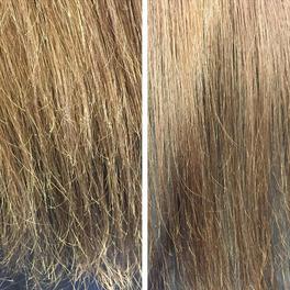 Włosy przed i po użyciu urządzenia Split-ender