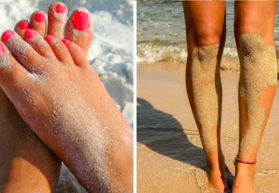 piasek na stopach i na nogach
