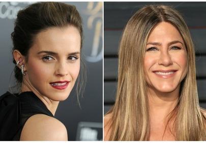 Emma Watson i Jennifer Aniston zestawienie dwóch zdjęć portretowych