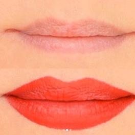 usta przed i po makijażem powiększającym ich kształt