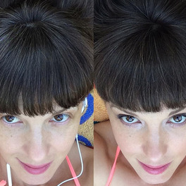 dziewczyna z kremem CC Erborian na twarzy zdjęcie przed i po