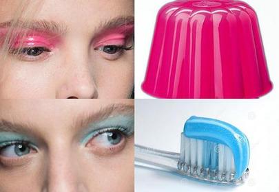 makijaże oczu niebieski i różowy kolaż