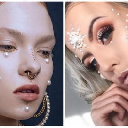 kobiety z perłowym makijażem