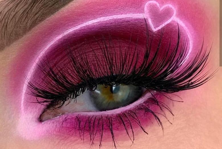 różowy makijaż na walentynki