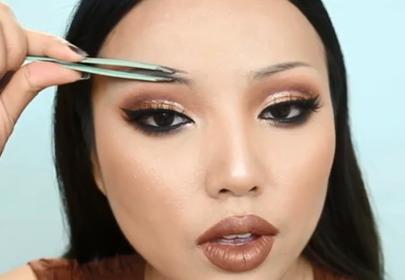 makijaż brwi pęsetą