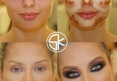 Metamorfoza makijażowa blondynki przed i po konturowaniu twarzy